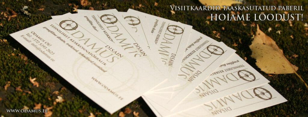 Odamus Disain: keskkonnasõbralikud visiitkaardid taaskasutatud paberil. HOIAME LOODUST!