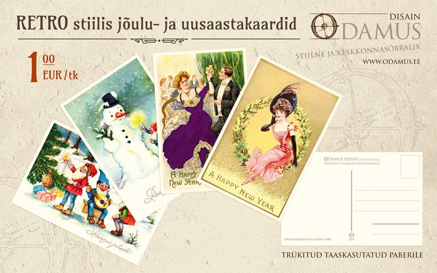 odamus Disain: Retro stiilis jõulukaardid