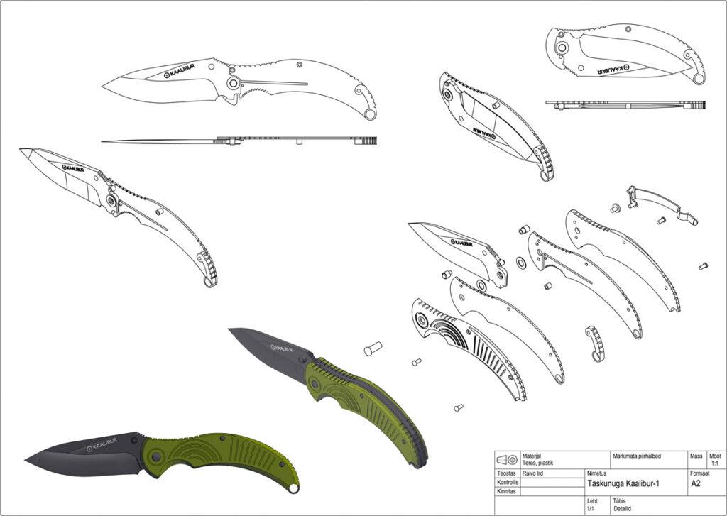 Odamus Disain: Nuga Kaalibur-1 MIL tehniline joonis detailid