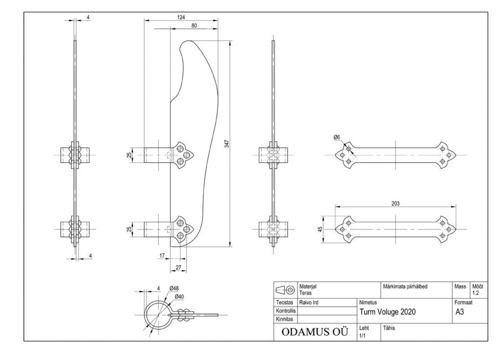 Odamus Disain: Hellebard Voluge 2020 tehniline joonis